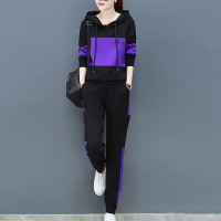 Charming Look Long Sleeve Hoodie Suit - Purple