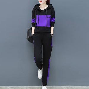 Charming Look Long Sleeve Hoodie Suit - Purple