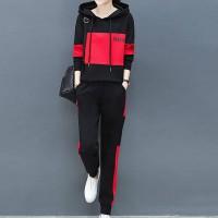 Charming Look Long Sleeve Hoodie Suit - Red