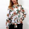 Boat Neck Waist Band Floral Printed Shirt