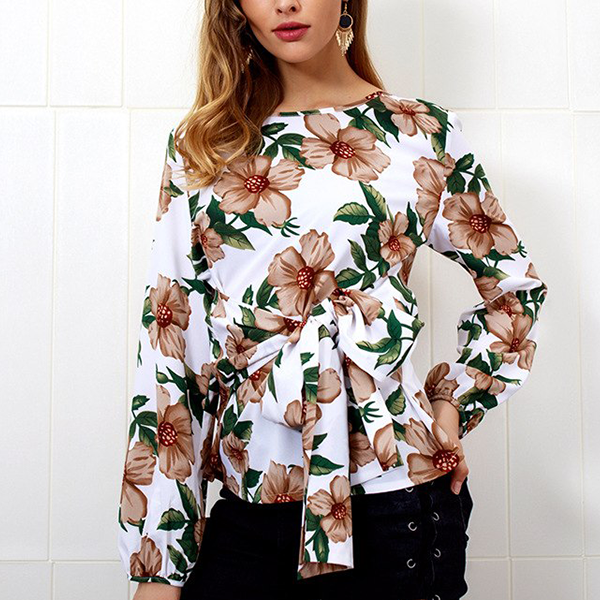 Boat Neck Waist Band Floral Printed Shirt
