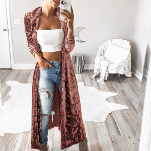 Full Length Plain Velvet Cardigan - Apricot