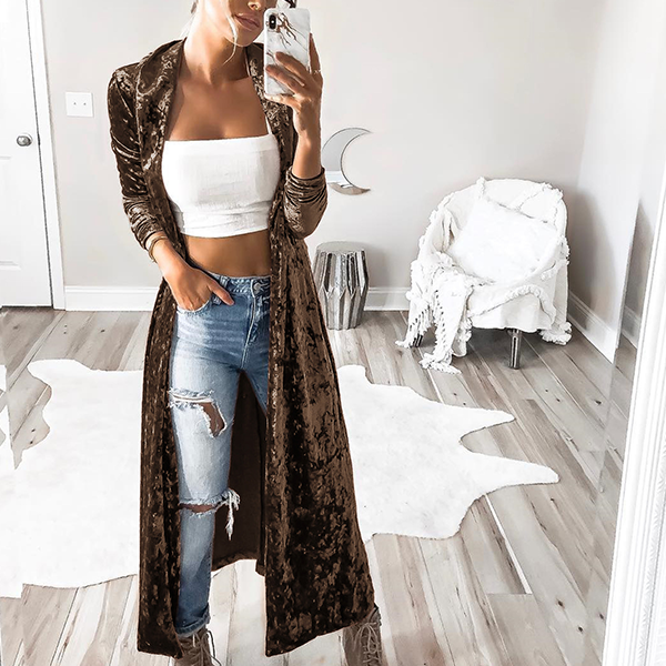 Full Length Plain Velvet Cardigan - Brown