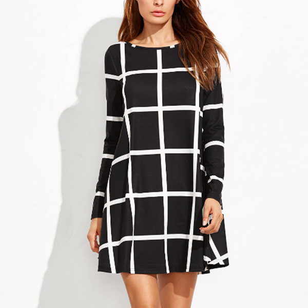 Square Printed Mini Length Casual Dress