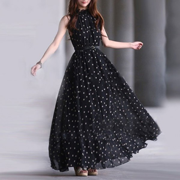 Polka Dot Long Maxi Casual Summer Chiffon Dress