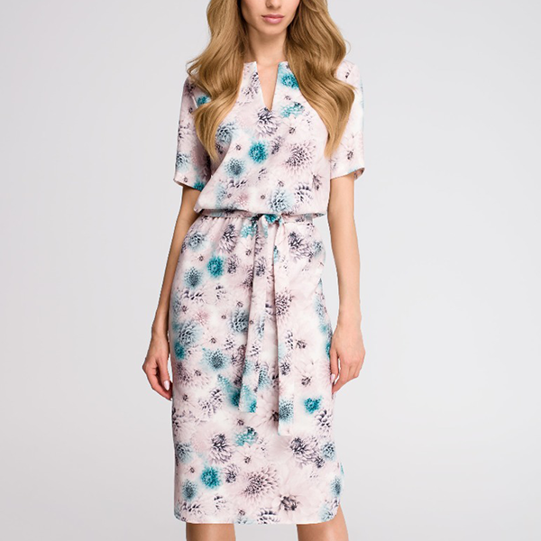 Waist Belt Printed Floral Midi Dress - White