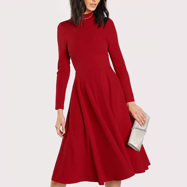 A-Line Mini Length Formal Party Dress - Burgundy