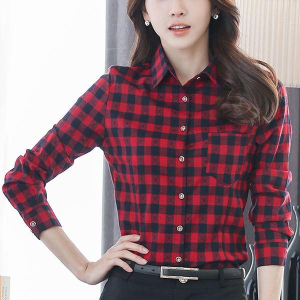 Checks Print Casual Full Sleeves Shirt - Red