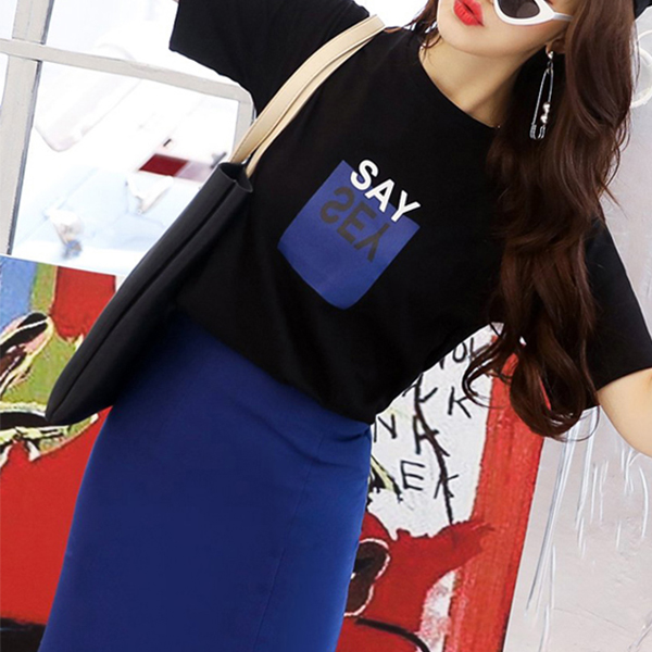 Slim Skirt Contrast Top Two Pieces Suit - Blue
