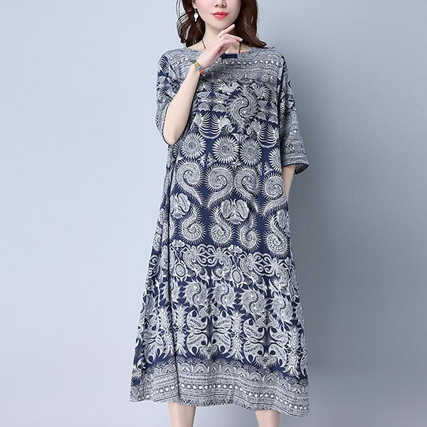 Bohemian Printed Loose Midi Length Dress