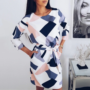Geometrical Prints Waist Belt Mini Dress