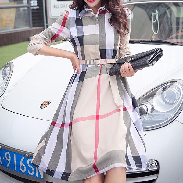 Check Prints Shirt Collar Casual Wear Midi Dress - Khaki