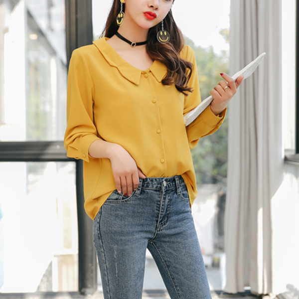 Wide Collar Full Sleeves Formal Shirt - Yellow