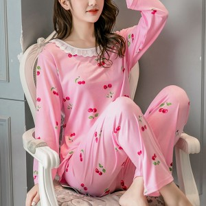 Cheery Printed Soft Cloth O Neckline - Pink