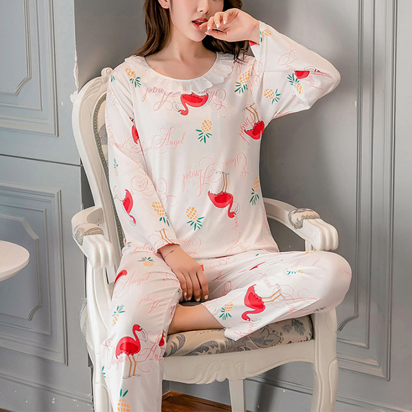 Birds Printed Soft Cloth O Neckline - White