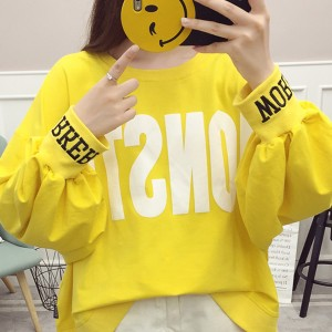 Text Prints Loose Round Neck T-Shirt - Yellow
