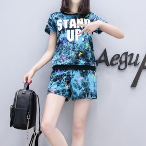 Text Prints Shorts With Round Neck T-Shirt - Blue
