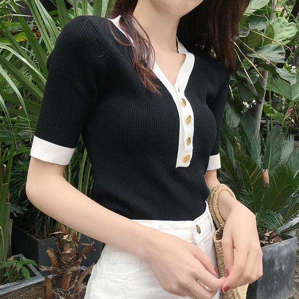 Contrast V Neck Short Sleeves Blouse Shirt - Black