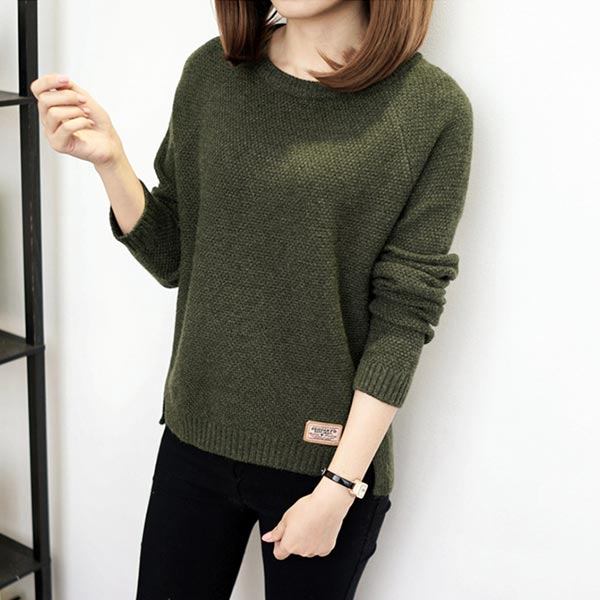 O-neck Casual Women Pullover Warm T-shirt - Green