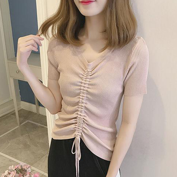 Drawstring Pleated Office Wear Top - Pink