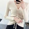 Full Sleeves String Bow Ribbed T-Shirt - Khaki