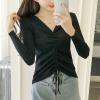 Full Sleeves String Bow Ribbed T-Shirt - Black