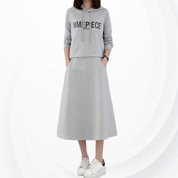 Loose Casual Wearing Female Hooded Dress - Grey