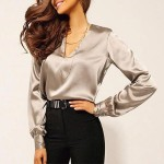 Deep V Neck Long Sleeve Loose Ladies Formal Shirts - Gray