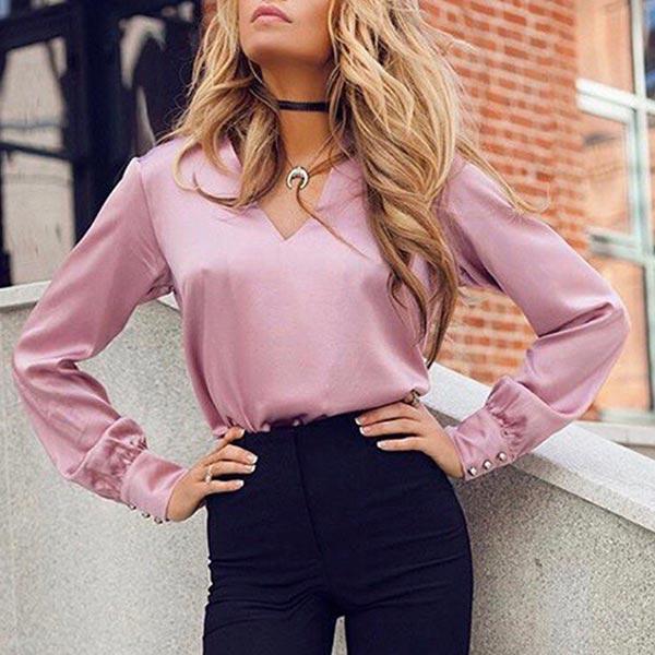 Deep V Neck Long Sleeve Loose Ladies Formal Shirts - Pink