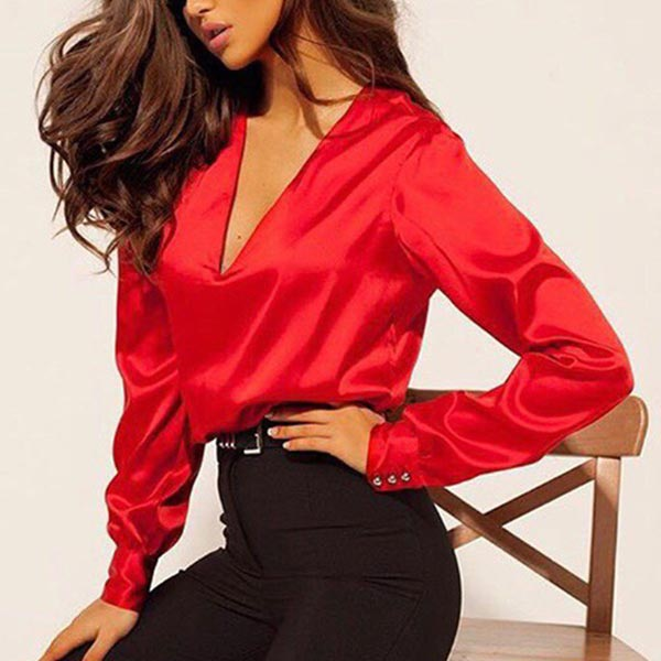Deep V Neck Long Sleeve Loose Ladies Formal Shirts - Red