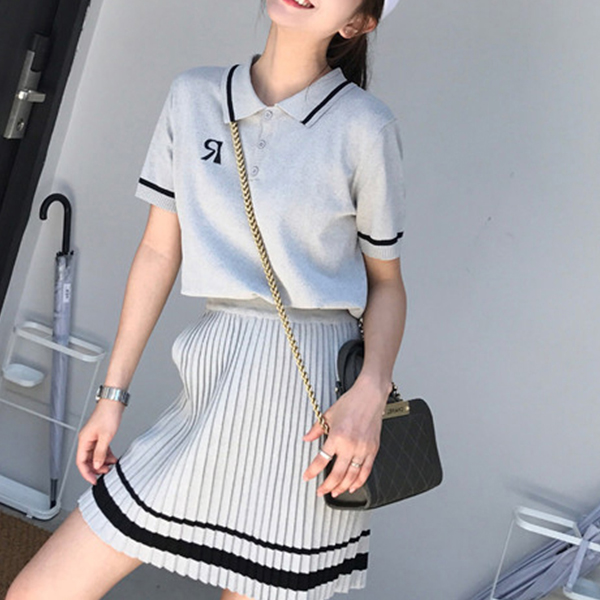 Skirt Pleated Polo Collar Top Summer Wear Suit - Grey