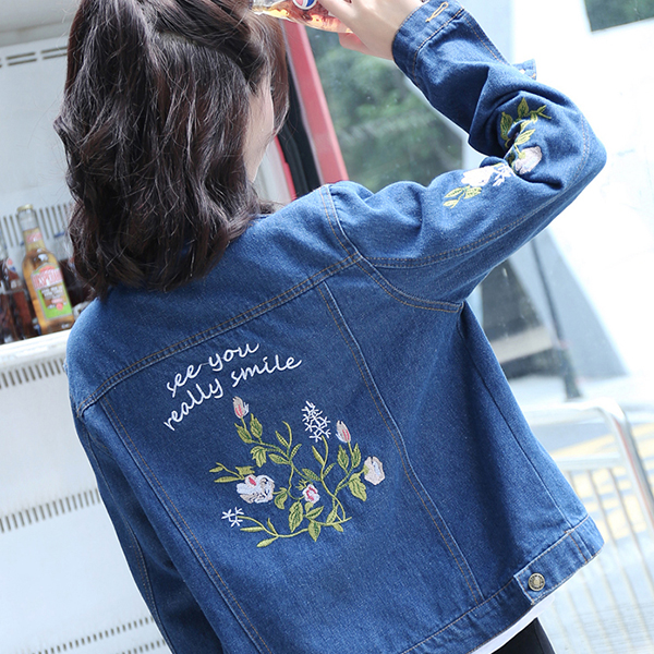 Thread Embroidered Casual Short Jacket - Blue