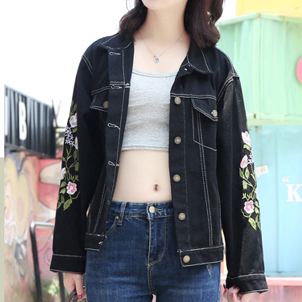 Thread Embroidered Casual Short Jacket - Black