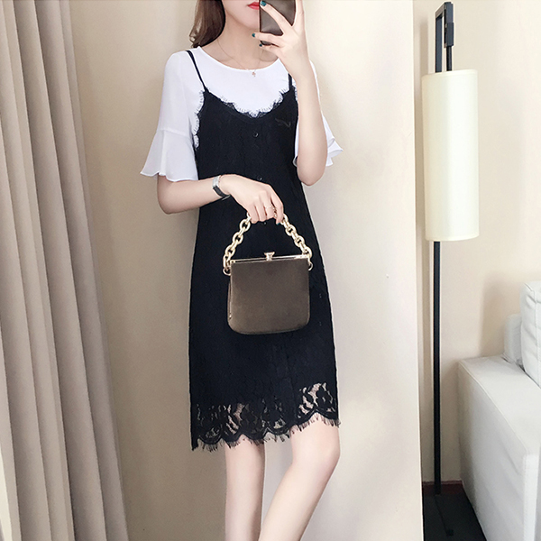 Tassel Lace Decorative Two Piece Skirt Dress