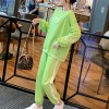Letter Printed Long Sleeves O Neckline Sports Suit - Green
