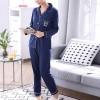 Pajamas Long-sleeved Ladies Front Buckle Dress - Blue