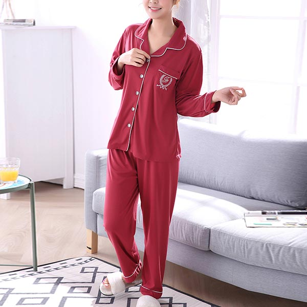 Pajamas Long-sleeved Ladies Front Buckle Dress - Red