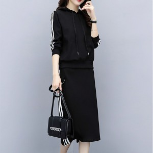 Strip Design Casual Wearing Two Piece Track Suit - Black