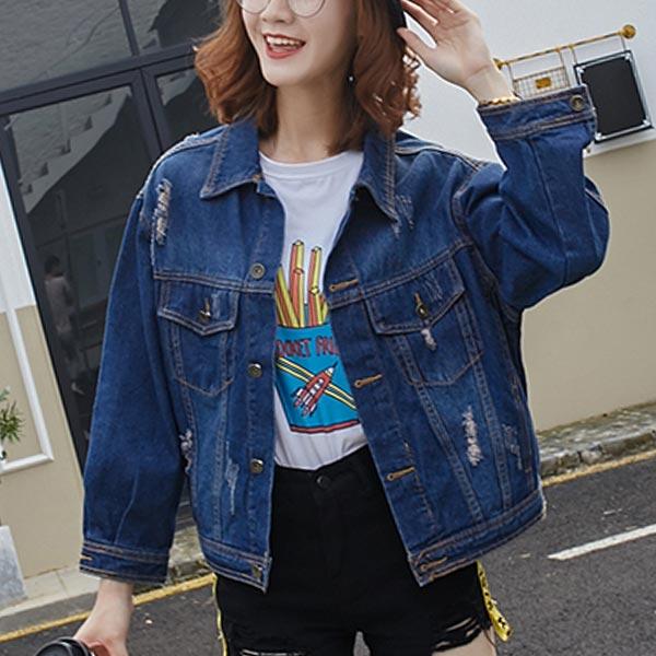 Denim Loose Long-sleeved Female Jackets - Dark Blue