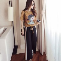 Lady Prints Round Neck Straight Bottom Two Pieces Suit - Brown