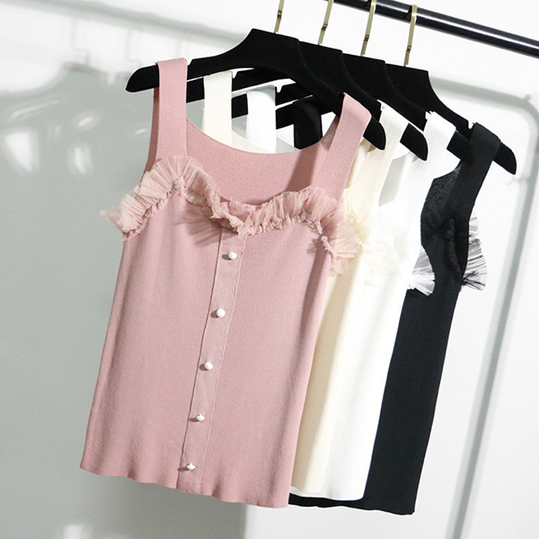 Button Closure Shoulder Strap Top - Pink