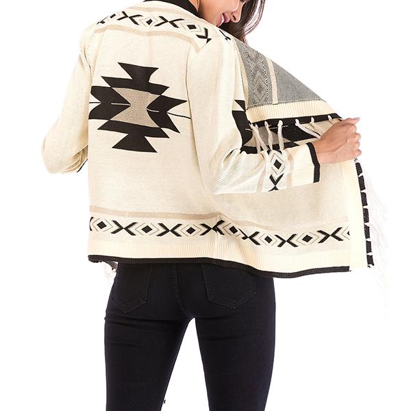 Geometric Pattern Long Sleeves Cardigans Sweaters - White