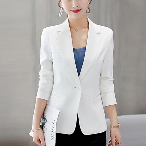 Long Sleeves Outerwear Ladies Blazer Dress Coat - White