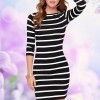 Cheap Evening Dress Striped Knee Length Bodycon Party Dress