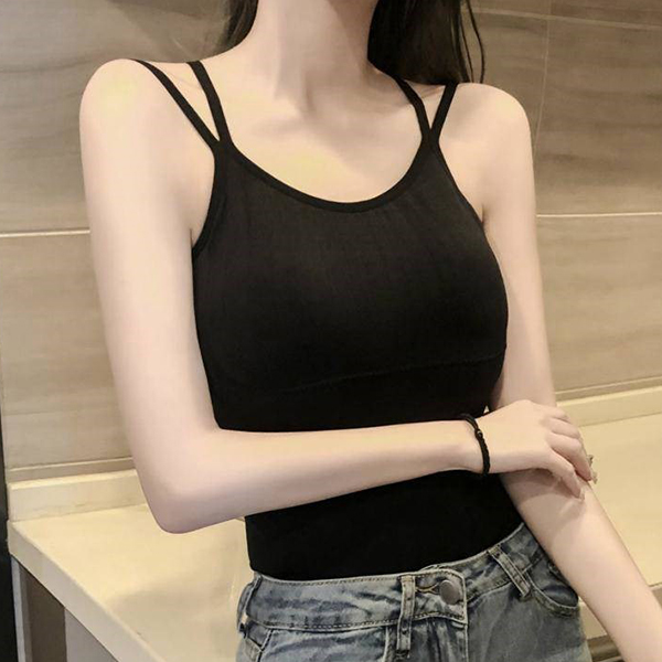 Backless Tassel Lace Decorative Summer Top - Black