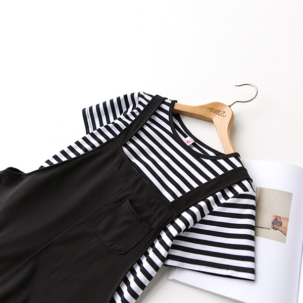 Striped Round Neck Top Two Piece Pants Suit