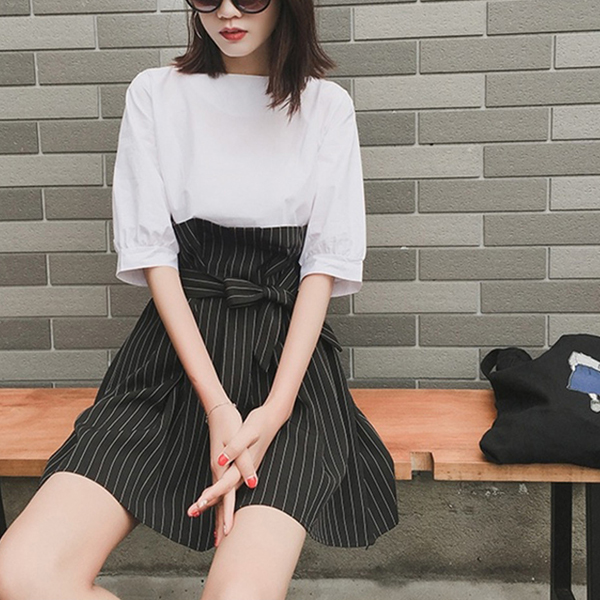 Contrast Striped Waist Belt Mini Dress