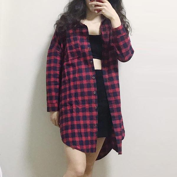 Contrast Long Sleeve Extra Loose Plaid Shirts - Red Blue