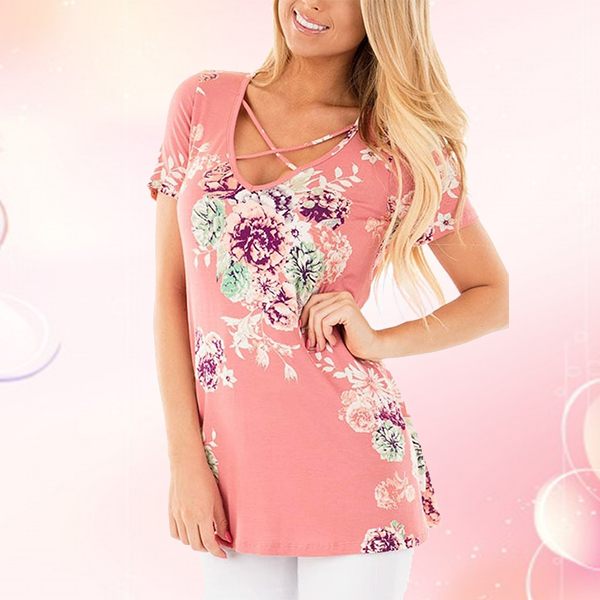 Floral Print Loose Blouse Summer Casual Top Pink