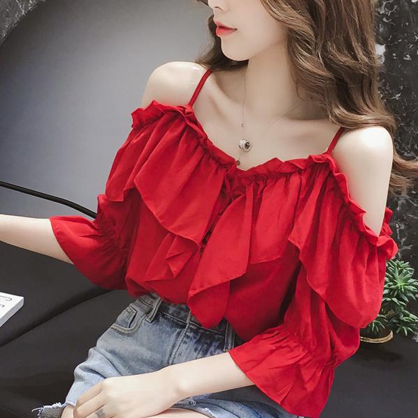 Flared Strap Shoulder Summer Wear Blouse Top - Red